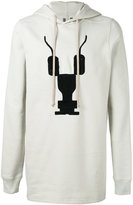 Rick Owens embroidered long hoodie - men - Cotton - S