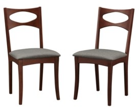 Walker Edison Mid Century Modern Upholstered Seat Dining Chair, Set of 2