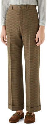 Gucci Men's Tweed Wide-Leg Cuffed Trousers