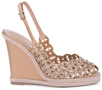 Rene Caovilla Sophia Embellished Leather Wedges