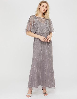Monsoon Tatiana Embellished Maxi Dress Grey