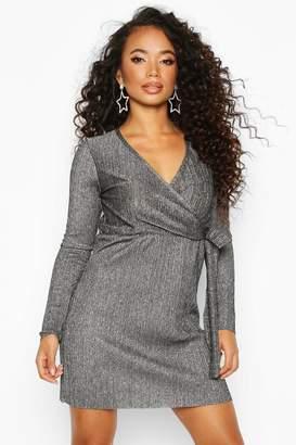 boohoo Petite Metallic Plissé Wrap Dress