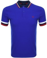 Fred Perry Striped Cuff Polo T Shirt Blue