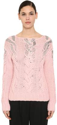 Ermanno Scervino EMBELLISHED WOOL & ACRYLIC KNIT SWEATER