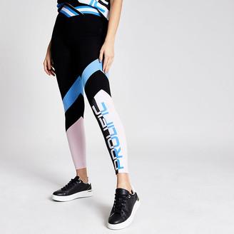 River Island Prolific black colour block V waist leggings