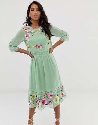 ASOS DESIGN double layer embroidered midi dress in sage green