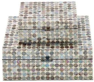 Uma Enterprises Rustic Elegance Wood Mother of Pearl Inlay Boxes, 2-Piece Set, Multi-C