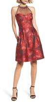 Maggy London Petite Women's Brocade Fit & Flare Dress