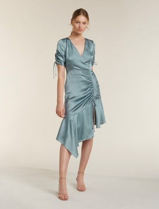 Forever New Sally Satin Ruched Dress - Mint - 14