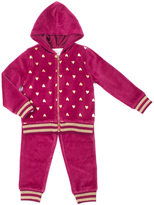 Little Lass Wine Polka Dot Velour Hooded Jacket Set - Infant & Girls