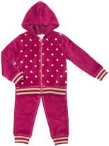 Little Lass Wine Polka Dot Velour Hooded Jacket Set - Infant & Toddler