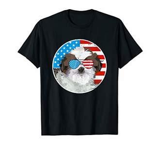 Shih 4th of July Tzu dog Tshirt American Flag shirt