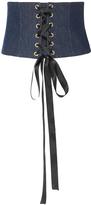 Caroline Constas Ribbon Lace-Up Denim Corset