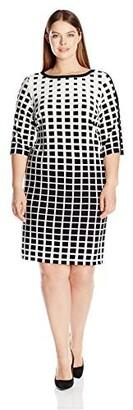 Sandra Darren Women's Size Plus 1 Pc 3/4 Sleeve Printed Ity Dress