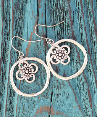 Boho Treasures By Wise Creations Boho Treasures by Wise Creations Women's Earrings Silver - Silvertone Flower Hoop Drop Earrings