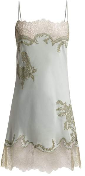 Carine Gilson Lace Trimmed Silk Satin Slip Dress - Womens - Light Blue