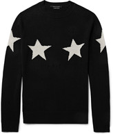 Marc Jacobs - Slim-fit Distressed Star-intarsia Wool And Cashmere-blend Sweater