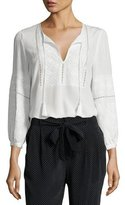 Joie Mei Embroidered Silk Peasant Top, White