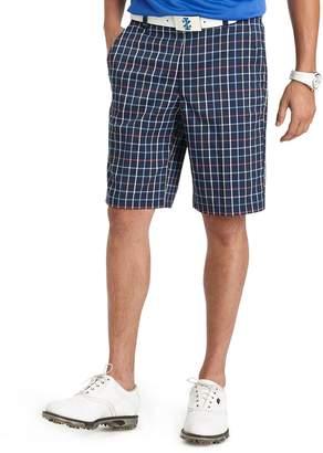 Izod Men's Flat Front Vacationers Tattersall Plaid Golf Short