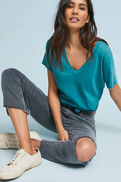 Current/Elliott Current/Elliot The Stiletto Mid-Rise Straight Cropped Jeans