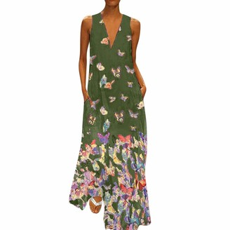 KPILP Women's Maxi Dress Casual Summer Butterfly Print Dress Sleeveless Loose fit Beach Party Long Dresses for Ladies Night Club Party Elegant Maxi Dress(Black 22 UK / 5XL CN)
