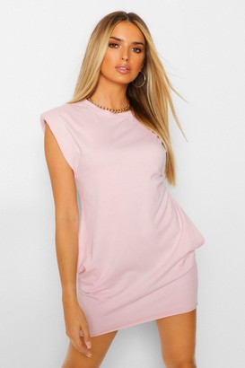 boohoo Padded Shoulder T-Shirt Dress