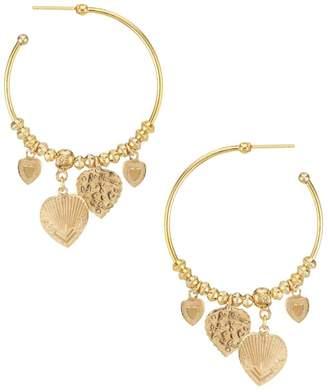 Gas Bijoux Mini Love 24K Goldplated Heart Charm Hoop Earrings