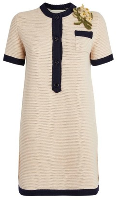 Gucci Woven Mini Dress With Brooch