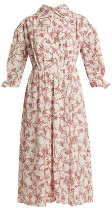 Emilia Wickstead Narmina Floral-print Point-collar Crepe Dress - Womens - Red White