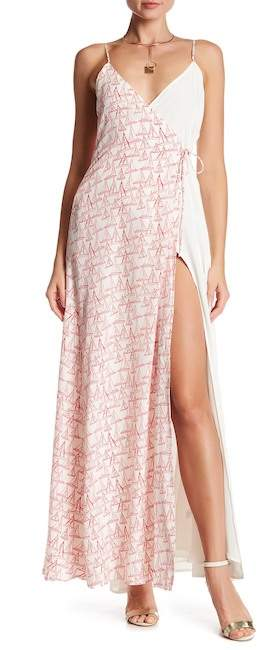Privacy Please Richter Contrasting Print Wrap Maxi Dress