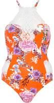 River Island Womens Orange floral print high apex swimsuit