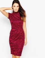 French Connection Shatter Jacquard High Neck Dress with Cap Sleeves