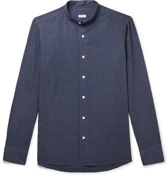 Caruso Grandad-Collar Puppytooth Cotton Shirt