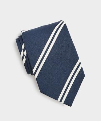 Drakes White Double Stripe Tie in Navy