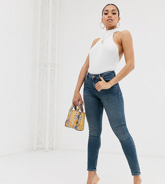ASOS DESIGN Petite Ridley high waisted skinny jeans in extreme dark stonewash blue
