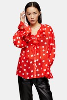 Topshop Womens Red Oversized Spot Shirt - Red