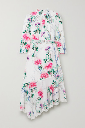 Andrew Gn Asymmetric Lace-trimmed Floral-print Silk-crepe Midi Dress - White