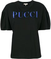 Emilio Pucci gathered sleeves logo T-shirt