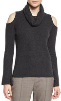 Elie Tahari Torrence Cashmere Cowl-Neck Cold-Shoulder Ribbed Sweater