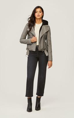 Soia & Kyo ELISHA moto leather jacket with detachable hood and bib