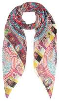 Etro Printed wool and silk scarf