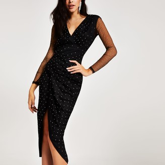 River Island Womens Forever Unique Black mesh wrap midi dress