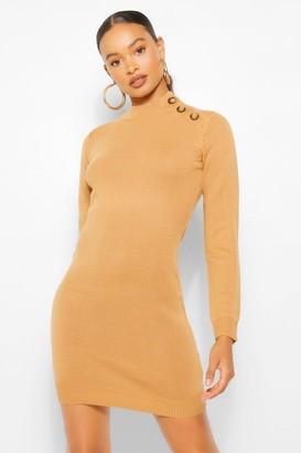 boohoo Button Shoulder Knit Dress