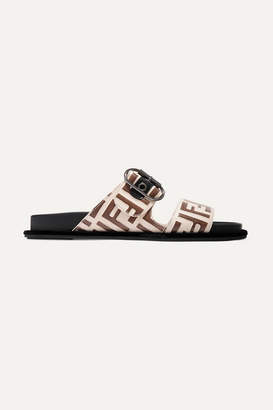Fendi Logo-print Leather And Rubber Slides - Beige