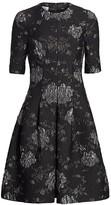 Floral Jacquard A-Line Dress