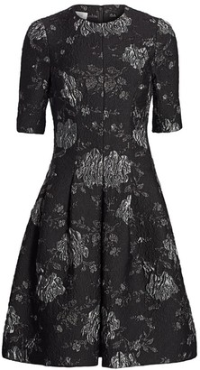 Teri Jon By Rickie Freeman Floral Jacquard A-Line Dress