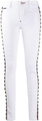 Philipp Plein Crystal-Embellished Skinny Jeans