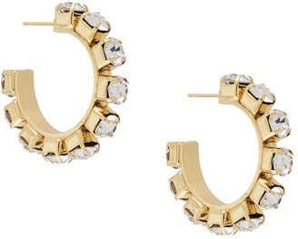 Area Crystal-Embellished Hoops