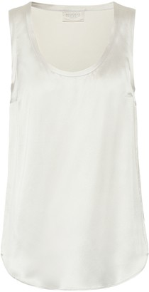 Brunello Cucinelli Stretch silk-satin tank top