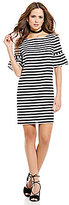 Gianni Bini Cece Stipe Bell Sleeve Shift Dress